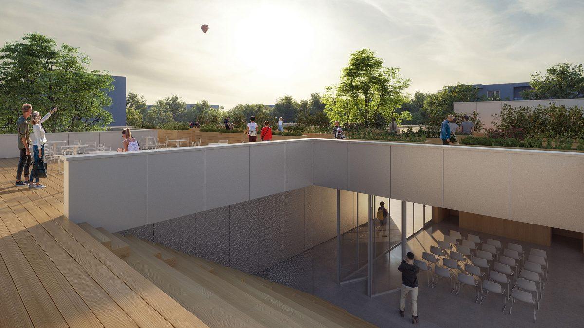Dachterrasse mit Urban Gardening, Sitzstufen und Veranstaltungsraum des Communityhubs im Quartier Quäkerstraße der Gewobag.