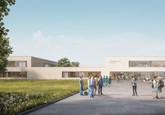 Vorplatz der neuen Gesamtschule Kolkwitz.