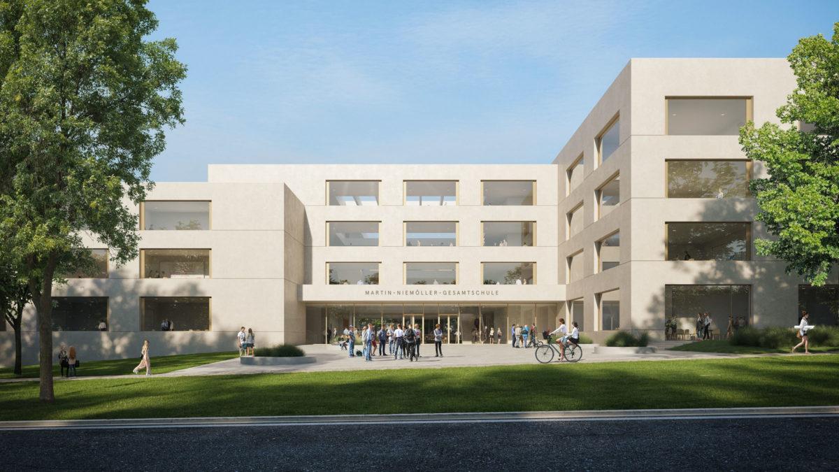 Vorplatz mit zentralem Haupteingang des nördlichen Gebäudes der Martin-Niemöller-Gesamtschule in Bielefeld.