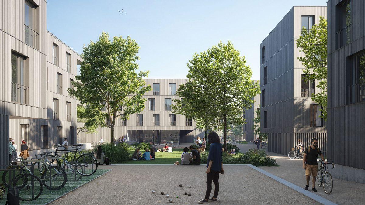 zentraler Platz mit Bäumen und Gemeinschaftsflächen des Studentenwohnheims Avenariussstraße in Nürnberg.