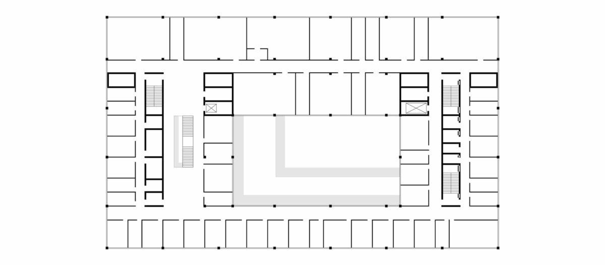 Grundriss des dritten Obergeschosses des Insitituts für Physik in Braunschweig.