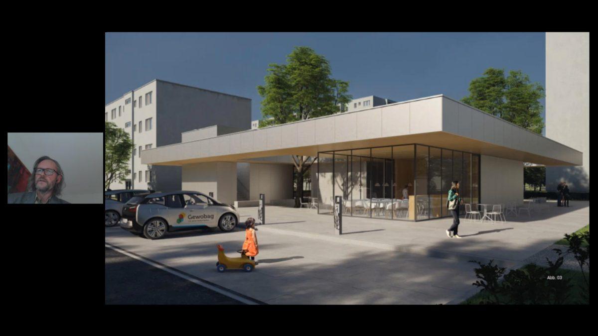 Screenshot von Xaver Egger's Vortrag im Rahmen des NAX Online-Seminars 2020 und Visualisierung des Communityhubs der Vision der digitalen Transformation des Quartiers Quäkerstraße in Berlin.