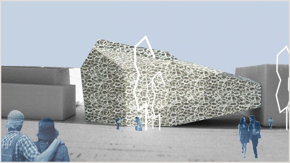 Modell und Skizze des Projekts TU Versuchshalle in Dresden.