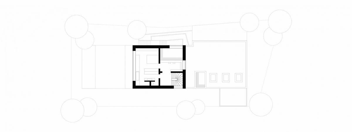 Obergeschossgrundriss des Einfamilienhauses A28 in Berlin.