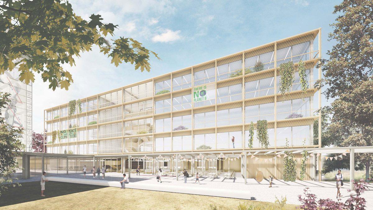 Vorplatz und der fünfgeschossige Baukörper der Integrierten Sekundarschule