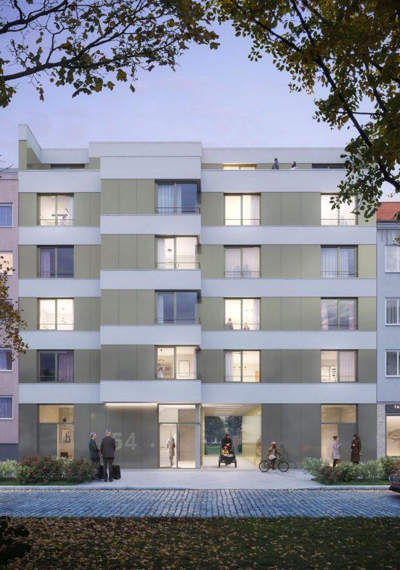 Straßenansicht des Wohngebäudes mit gebänderter Fassade in Alt Reinickendorf, Berlin.