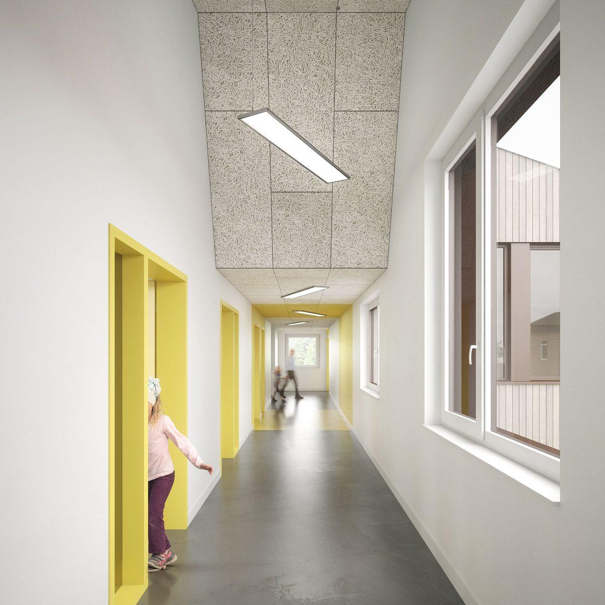 Erschließungszone der Klassen der Erweiterung der Andreas Grundschule in Essen.