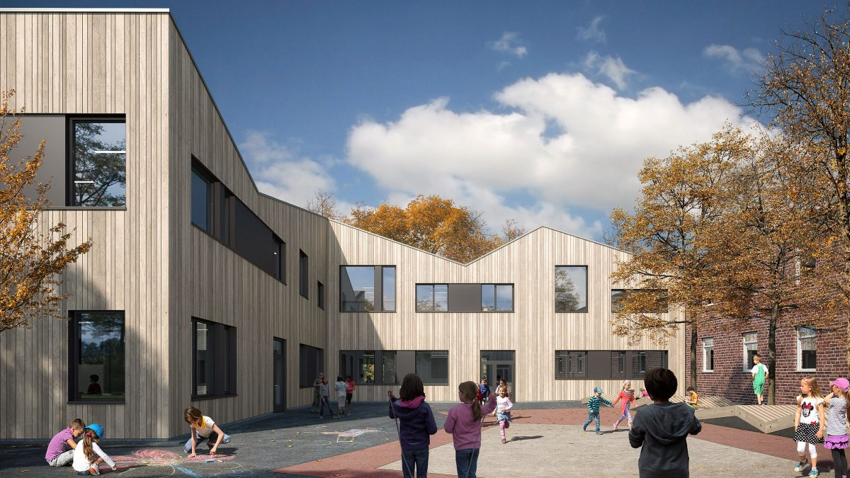 Schulhof zwischen Altbau und Erweiterung der Andreas Grundschule in Essen.