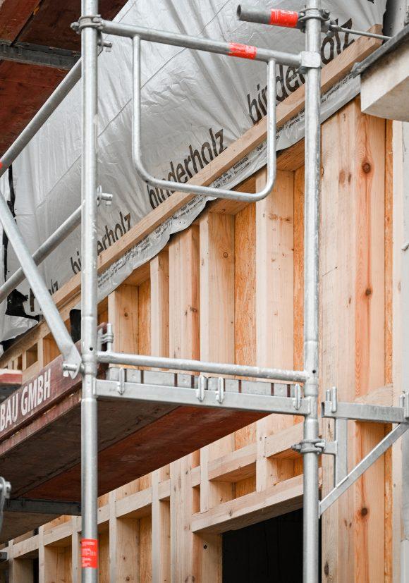 Außenwanddetail von der Baustelle des Wohnhauses in Alt-Reinickendorf 54 Berlin.