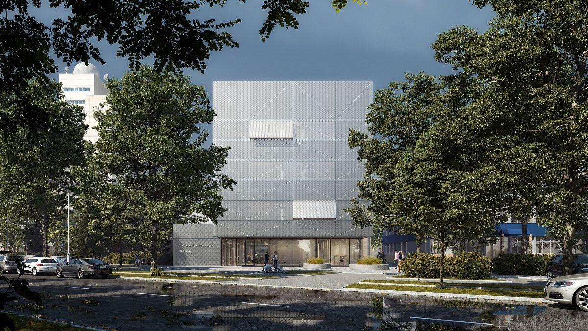 Vorplatz und einladendes, großzügig verglastes Erdgeschoss der Chemical Invention Factory der TU Berlin.