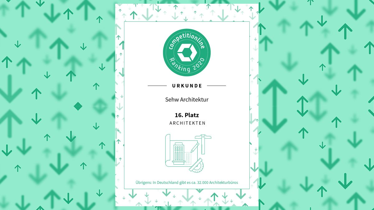 Urkunde vom Sehw Architektur beim Competitionline Ranking 2020.