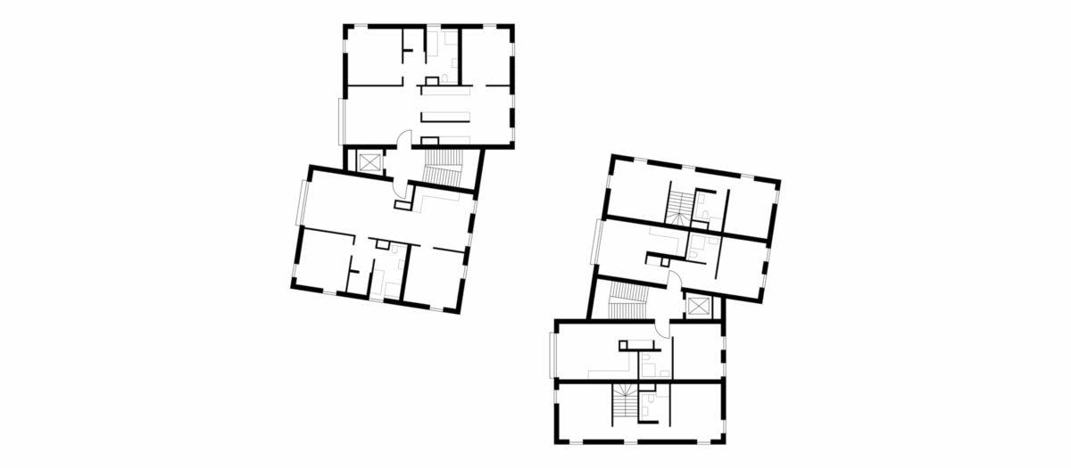 Grundriss der zwei Wohngebäude, errichtet in Holzsystembauweise, in Berlin Zehlendorf.