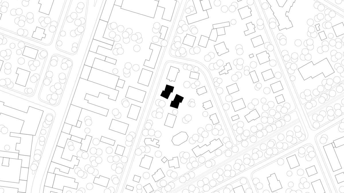 Lageplan der zwei Wohngebäude, errichtet in Holzsystembauweise, in Berlin Zehlendorf.