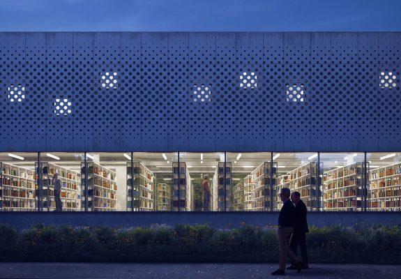 Fassade des Georg-Eckert-Instituts in Braunschweig, mit der markanten Lochblechfassade im Obergeschoss und großzügiger Glasfassade der Bibliothek im Erdgeschoss.