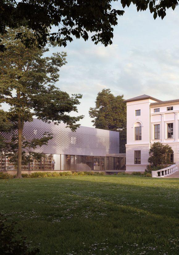Park mit Blick auf den Alt- und Neubau des Georg-Eckert-Instituts in Braunschweig.