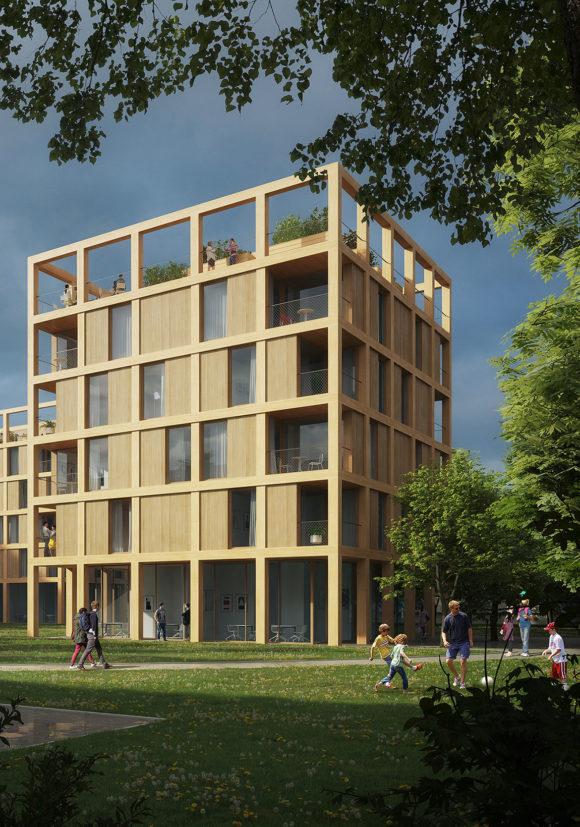Wohngebäude in Holzbauweise mit Gemeinschaftsdachterrasse der Vision der digitalen Transformation des Quartiers Quäkerstraße in Berlin.