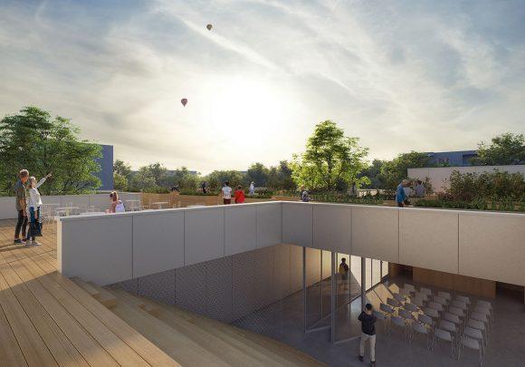 öffentliche Dachterrasse des Communityhubs der Vision der digitalen Transformation des Quartiers Quäkerstraße in Berlin.