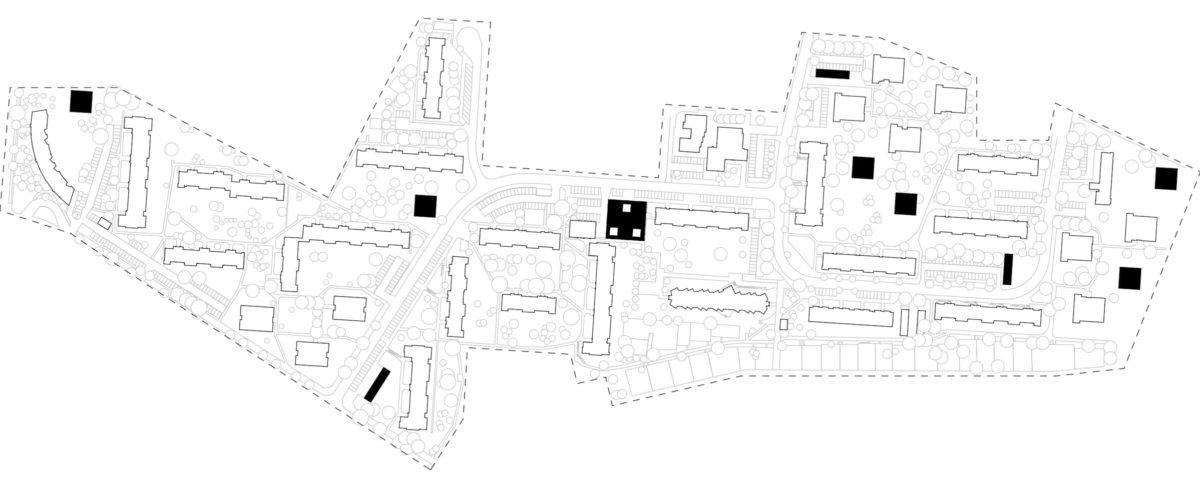 Lageplan mit Communityhub, Servicehubs und zusätzlichen Wohngebäudes der Vision der digitalen Transformation des Quartiers Quäkerstraße in Berlin.