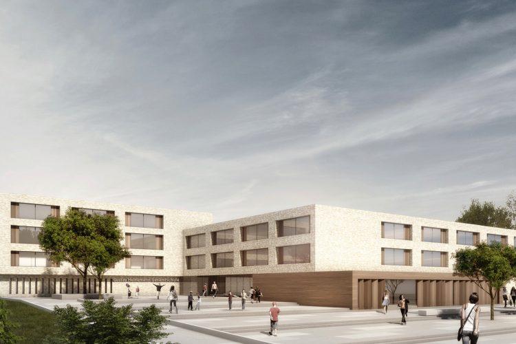 Vorplatz der Gustav-Heinemann-Gesamtschule in Essen.