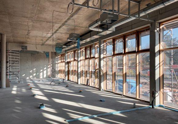 Innenaufnahme der Baustelle der Gustav-Heinemann-Gesamtschule in Essen.