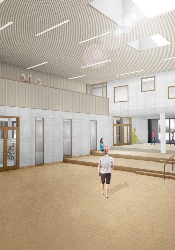 zweigeschossige Eingangshalle der Gustav-Heinemann-Gesamtschule in Essen.