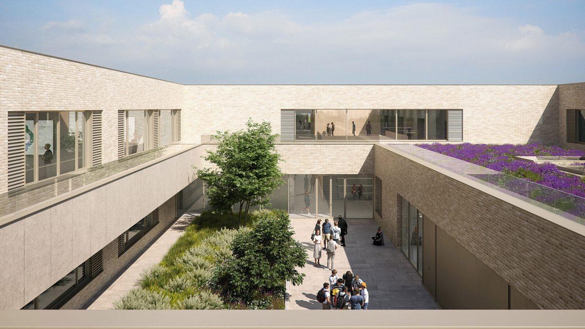 Innenhof der neuen Gesamtschule Kolkwitz.