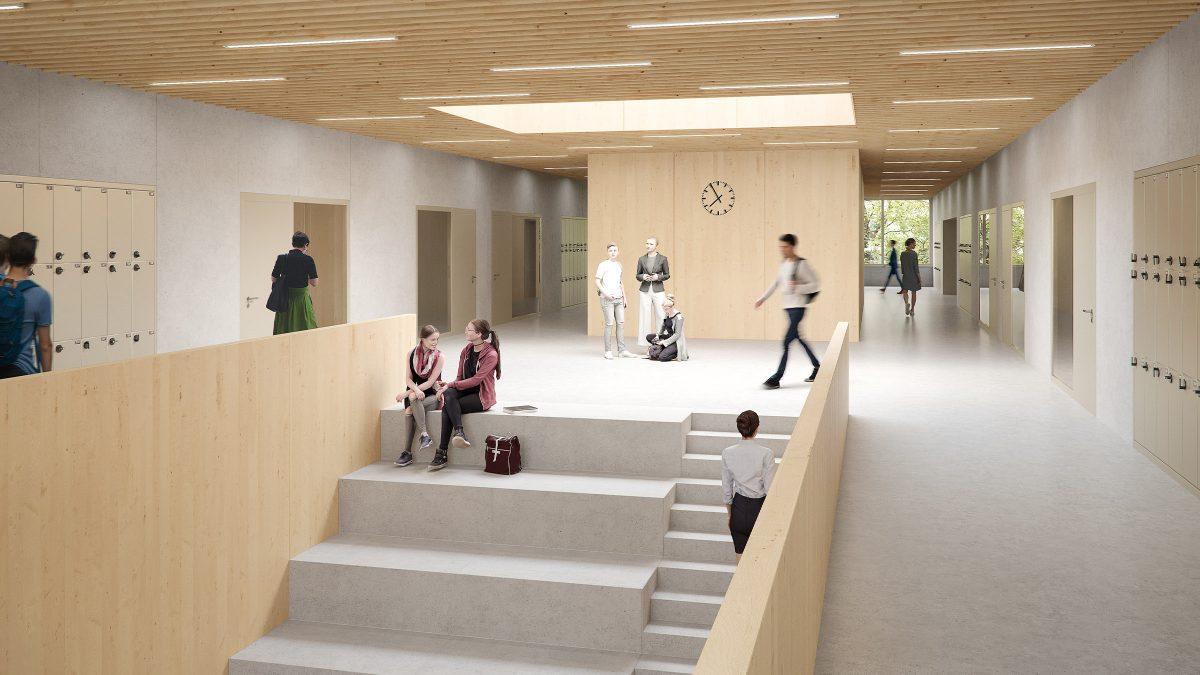 Foyer mit Sitztreppe in der neuen Gesamtschule Kolkwitz.