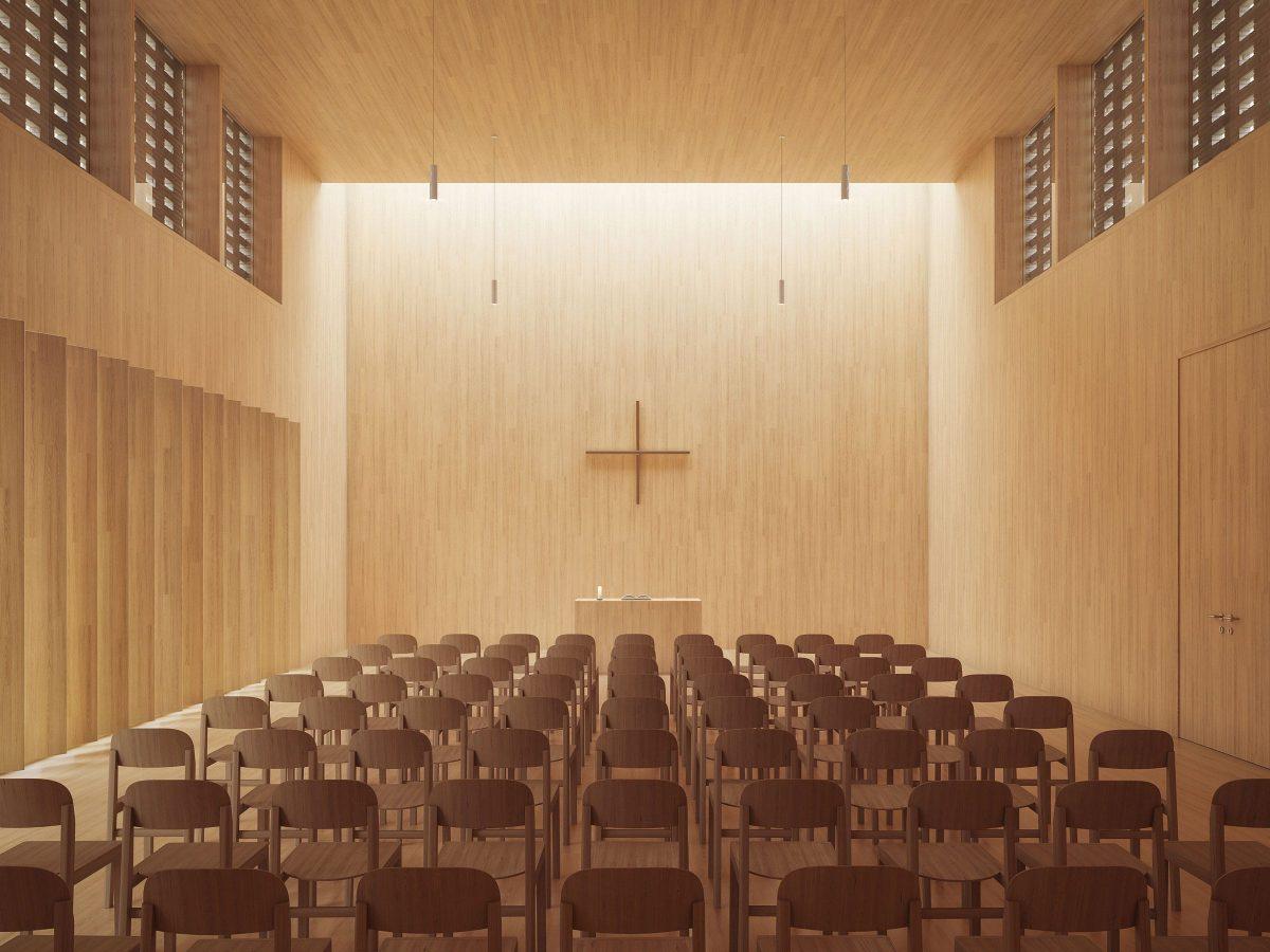 Gottesdienstraum des Gemeindezentrum Petrus-Giesendorf in Berlin.