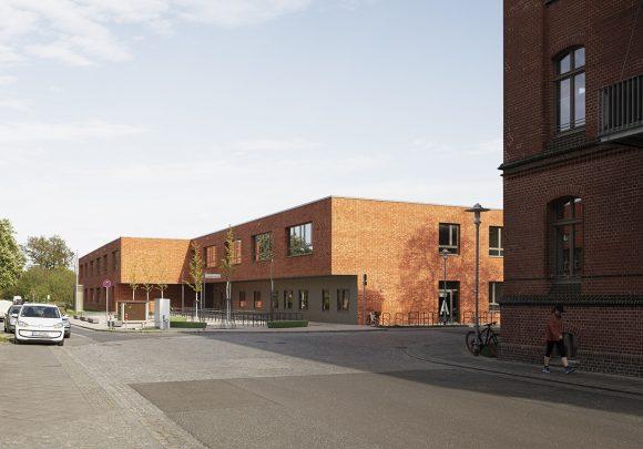Grundschule am Jungfernsee im Kontext der Nachbarbebauungen in Potsam.