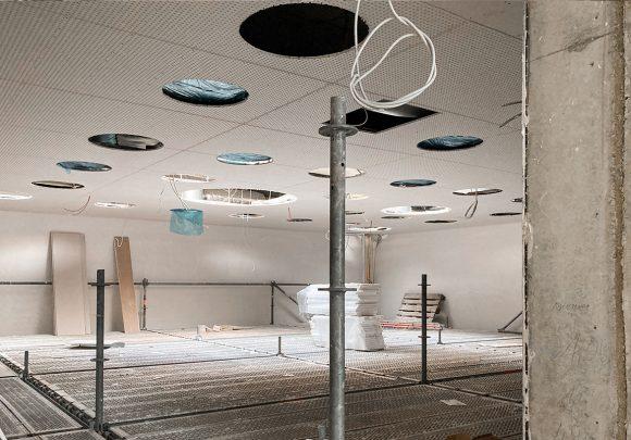 Innenaufnahme auf der Baustelle des Neubaus des Instituts für Elektrotechnik der Universität in Rostock.