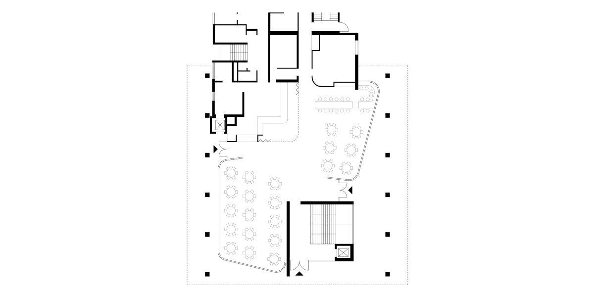 Grundriss Erdgeschoss der Cafeteria des IZS, Stuttgart.