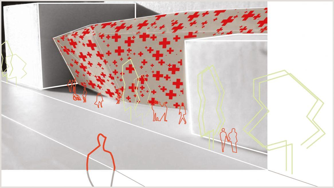 Modell und Skizze des Projekts Linz Krankenhaus.