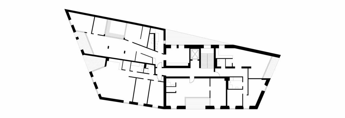 Grundriss Obergeschoss des sanierten und erweiterten historischen Gebäudes MDF6 in Altötting.