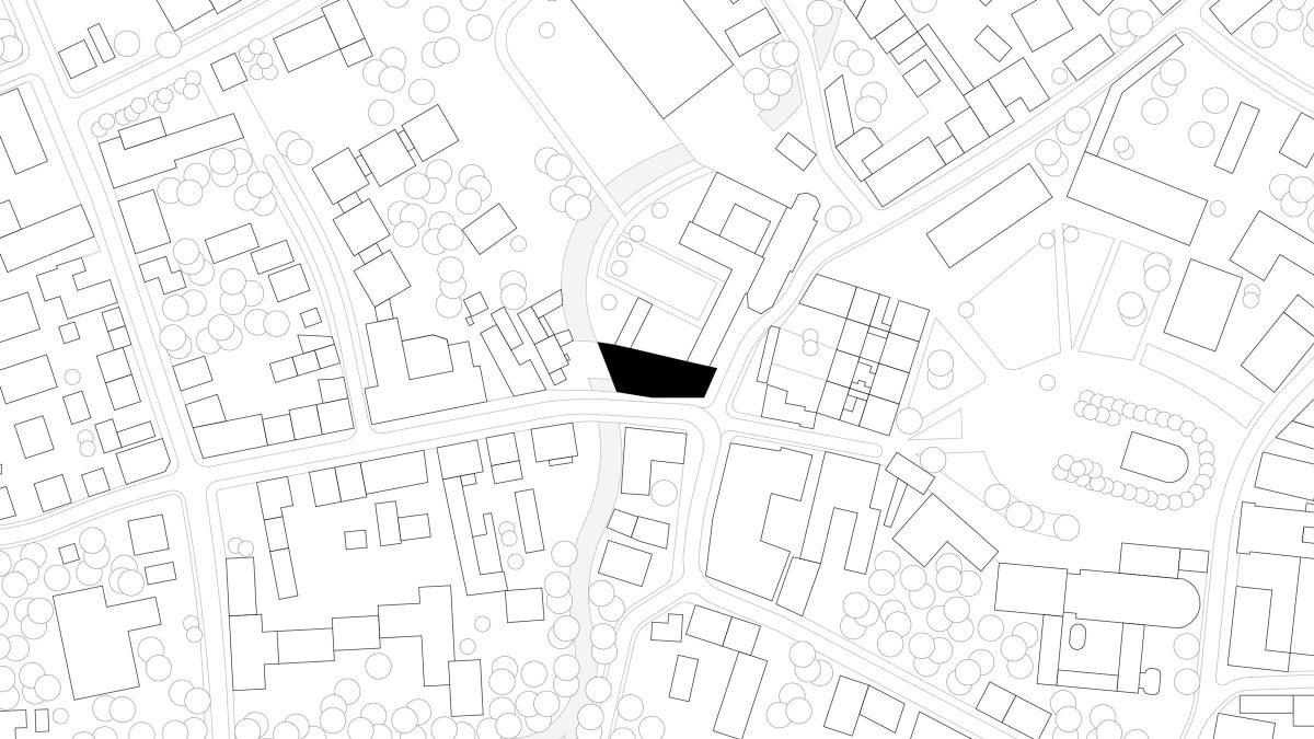 Lageplan des sanierten und erweiterten historischen Gebäudes MDF6 in Altötting.