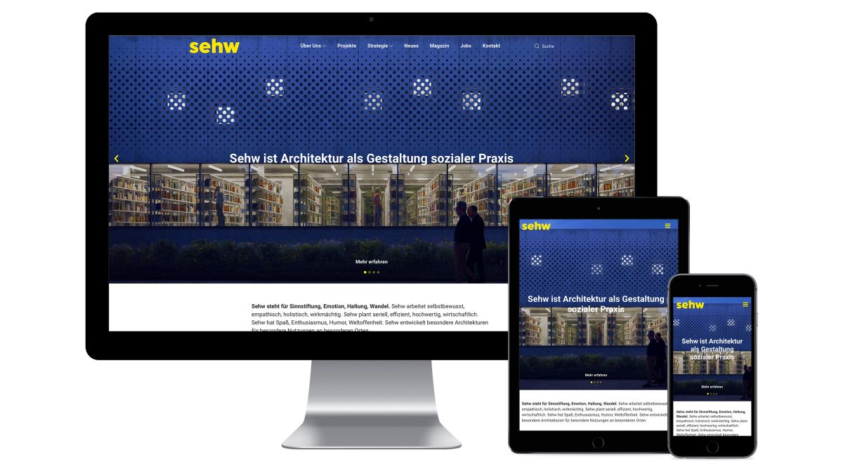 Abbildung der Website von Sehw Architektur auf unterschiedlichen Endgeräten.