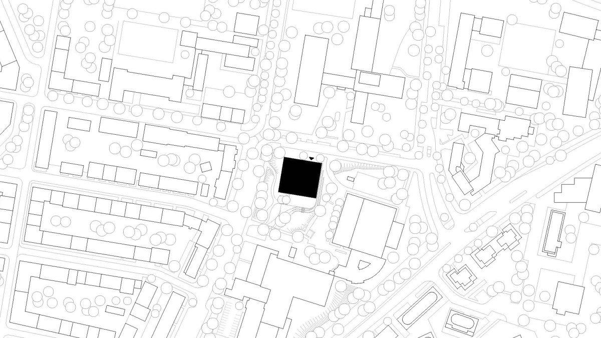 Lageplan der Interimsschule in Essen.
