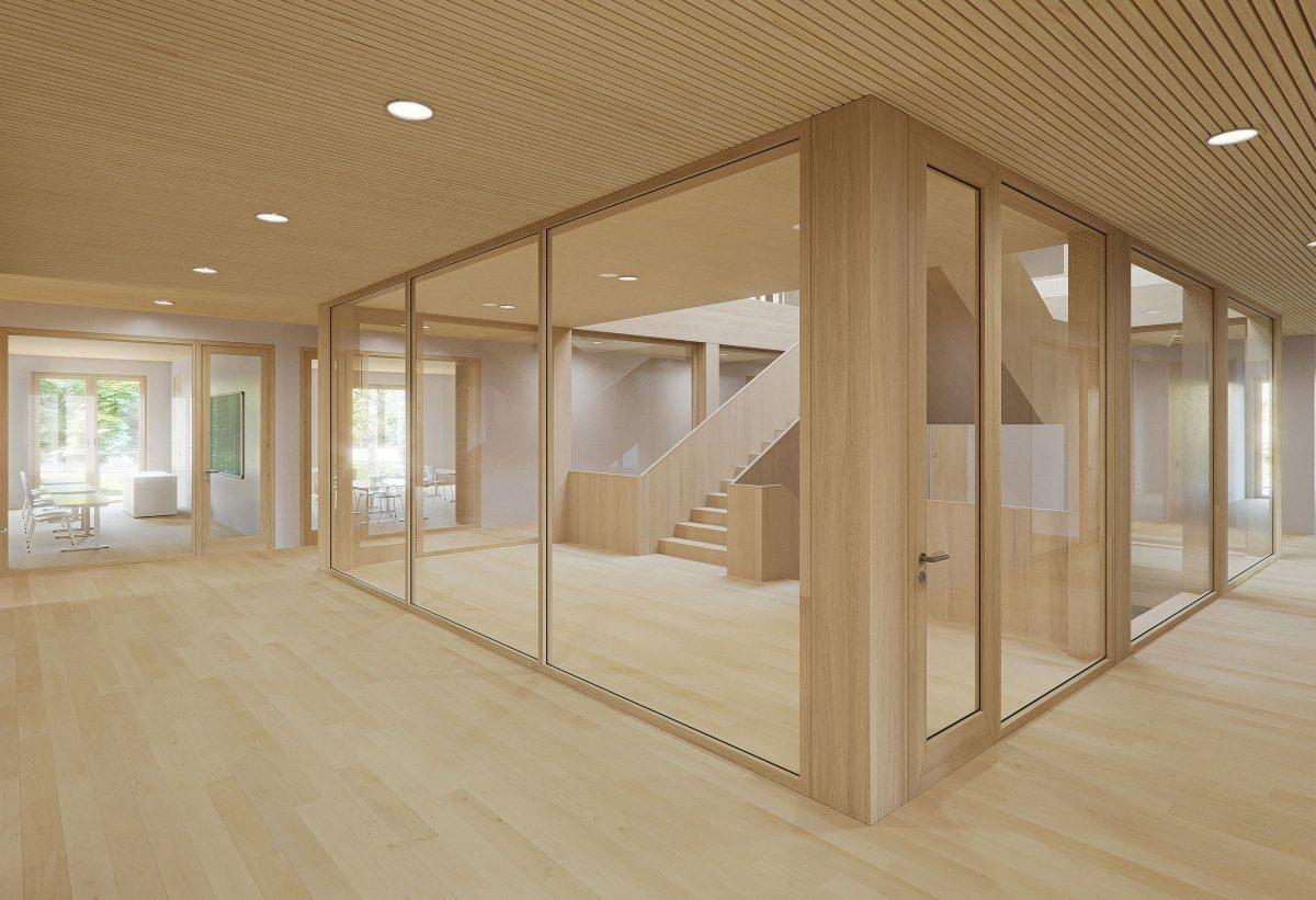 Blick in den zentralen Treppenraum der Interimsschule in Essen.