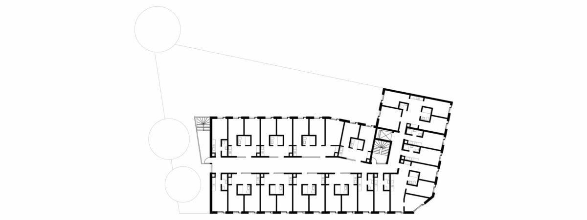 Grundriss des Neubaus des Apartmentgebäude für Studenten in Berlin.