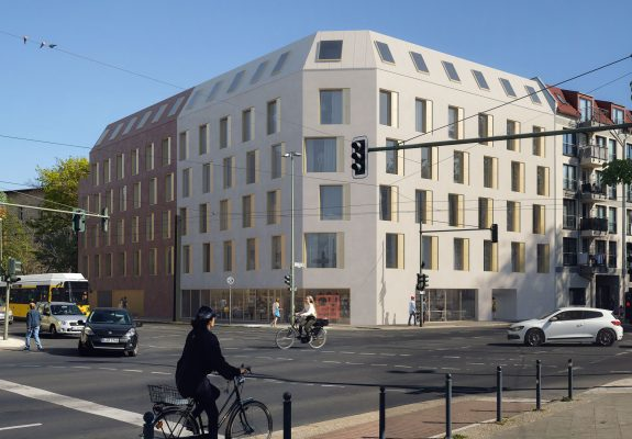 Straßenfassade des Neubaus des Apartmentgebäude für Studenten in Berlin.
