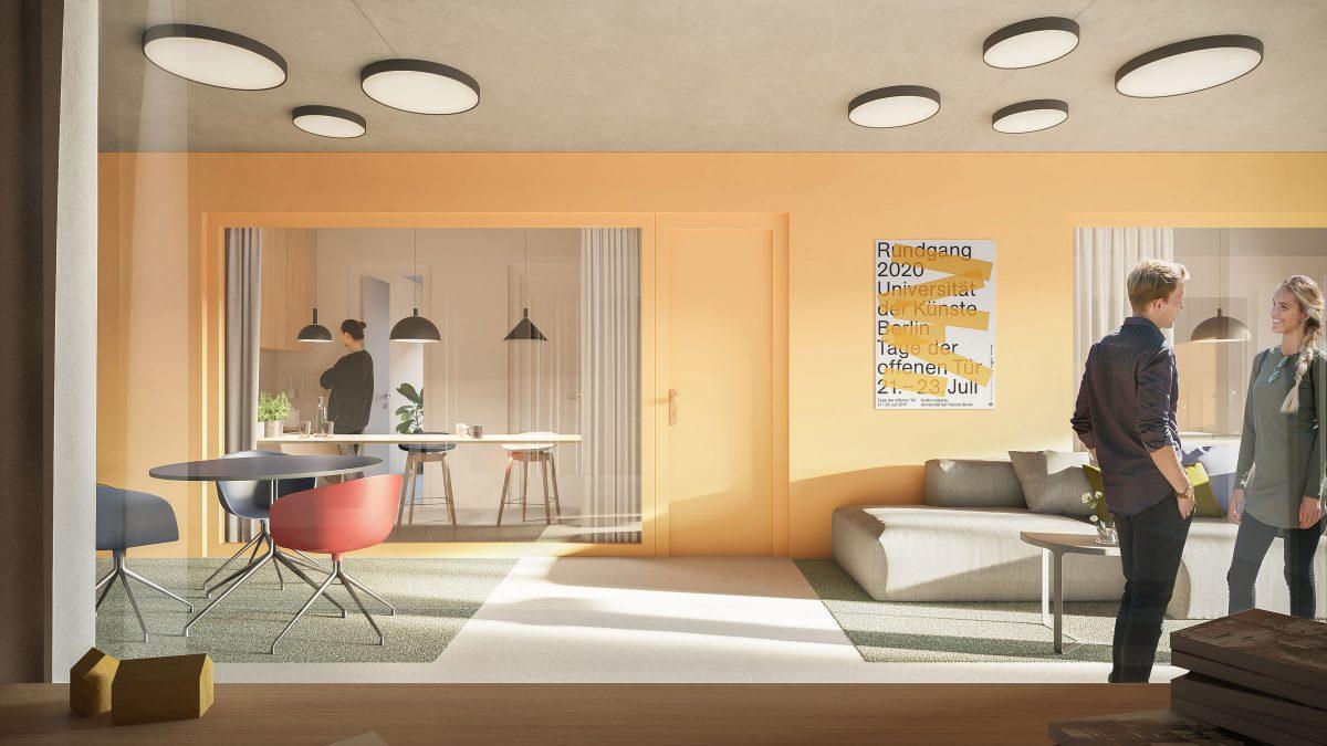 Blick aus dem Zimmer auf den Gemeinschaftsbereich des Neubaus des Apartmentgebäude für Studenten in Berlin.