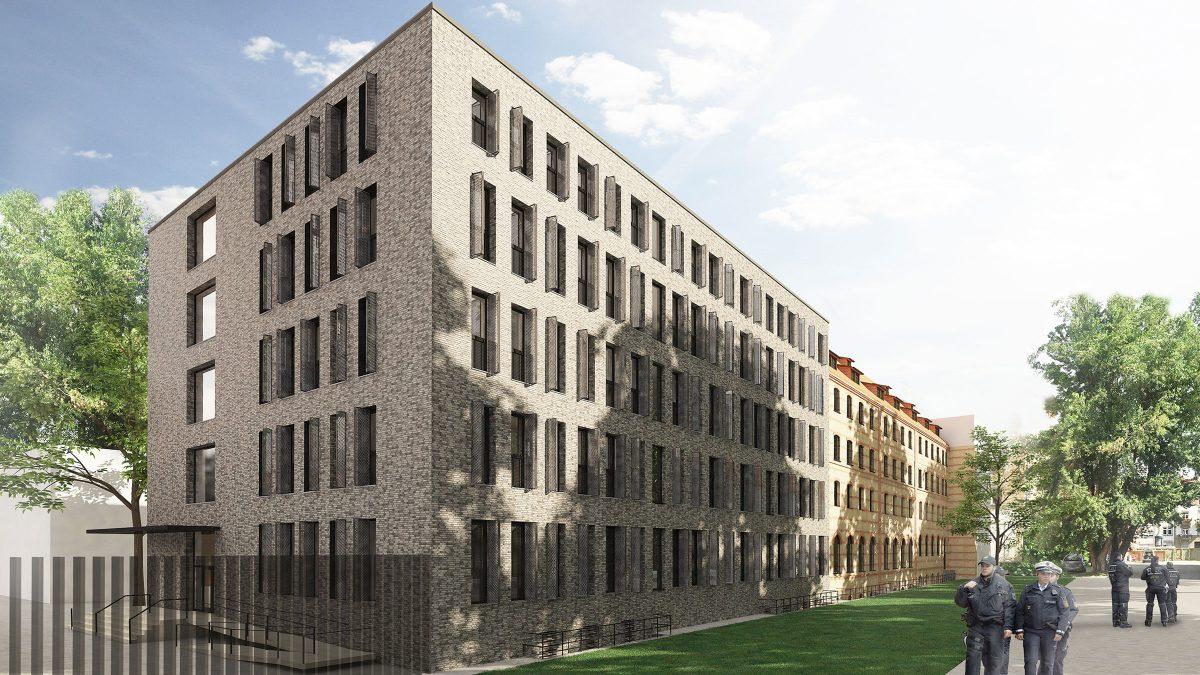 Erweiterung des Altbaus des Polizeipräsidiums in Karlsruhe.