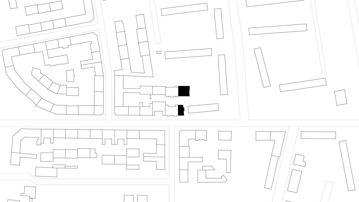 Lageplan der Zwillingsbauten in der Rathenaustraße in Berlin.