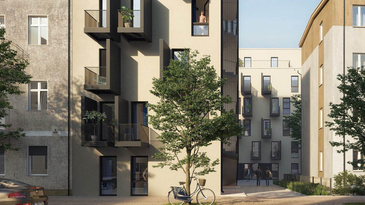 Straßenansicht der Zwillingsbauten in der Rathenaustraße in Berlin.