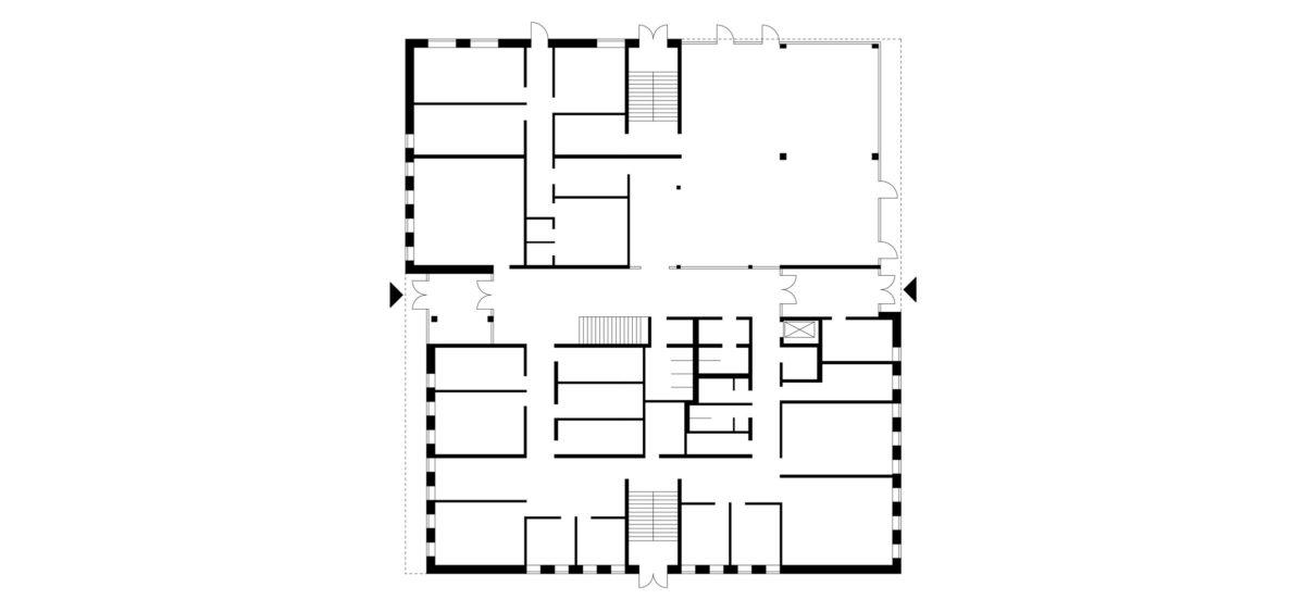 Grundriss des Erdgeschosses des Erweiterungsbaus Primarbereich für das inklusive Schulzentrum, Döbern.
