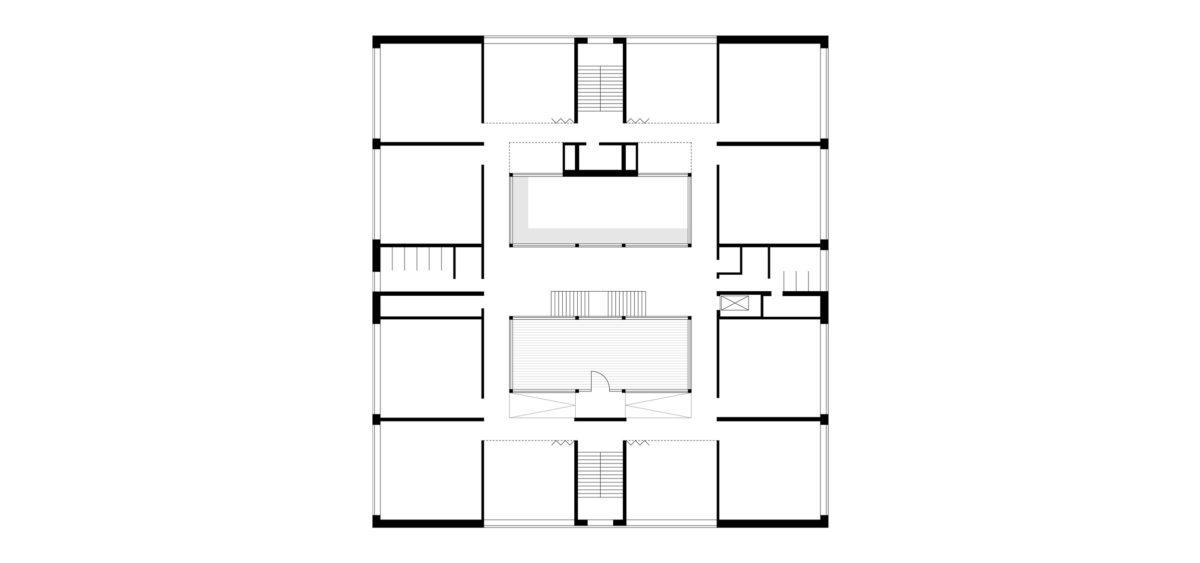 Grundriss des zweiten Obergeschosses des Erweiterungsbaus Primarbereich für das inklusive Schulzentrum, Döbern.
