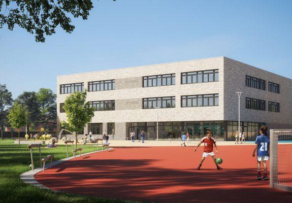 grüner Schulhof mit dem Erweiterungsbau des Primarbereichs des Schulzentrum Döberns.