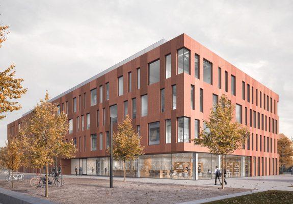 vorgelagerter Campusplatz des Neubaus der Chemie der TU Braunschweig mit seinem offenen Erdgeschoss und gewebter roter Sichtbetonfassade.