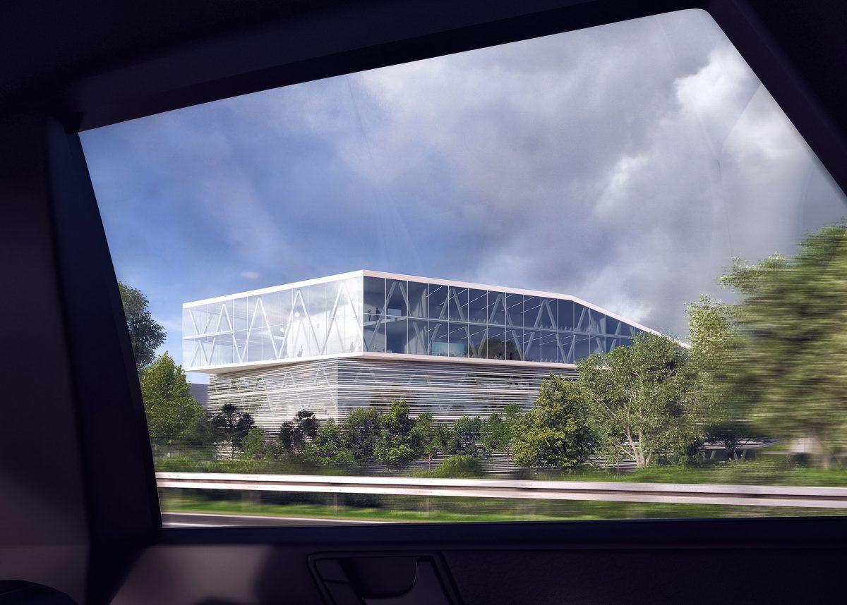 Blick aus dem Auto auf den Konferenzbereichs des Verwaltungsgebäude für die Leitwerk GmbH in Augsburg.