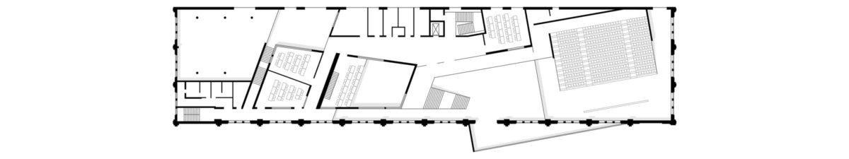 Grundriss des Hörsaalzentrums, Halle 17, der Technischen Hochschule Wildau.