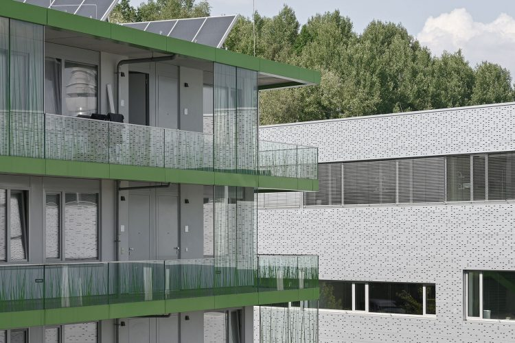 Ecke des studentischen Wohnens am Campus der Technischen Hochschule Wildau und Neubau der Halle 16 der technischen Hochschule Wildau.